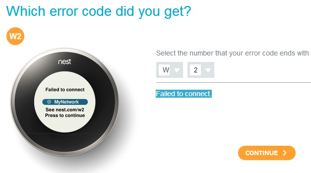 Nest Learning Thermostat wifi router fail to connect W2 error message