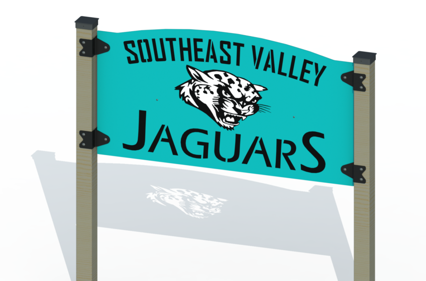 School Jaguar Mascot Sign Design; 3-Ply Steel, Double-Sided Lettering