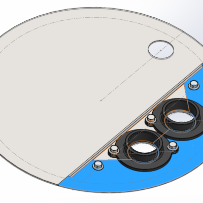 CUSTOM LIFT STATION COVER AND PIPE FLANGE HARDWARE ASSEMBLY (CAD SCREENSHOT)