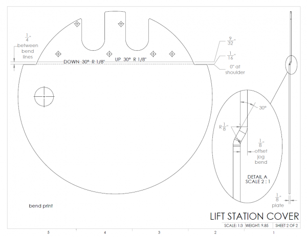 LIFT STATION COVER - VSN3B - SHEET METAL JOG BEND