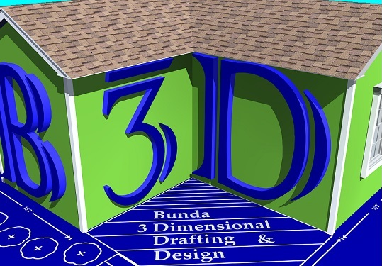 B3D: Bunda 3-Dimensional Drafting & Design - House on blueprint, rendered image