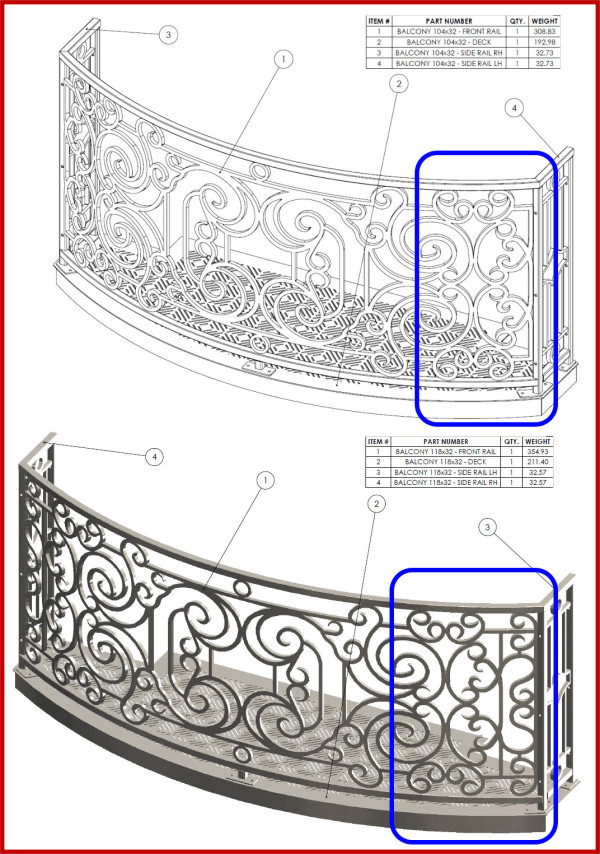 Differences in decorative inserts between 2 different widths of balconies
