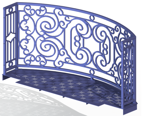 Balcony Render 1 - Curved Wrought Iron Look with Grate Deck - Purple, View From Behind