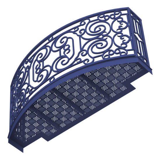 Balcony Render 2 - Curved Wrought Iron Look with Grate Deck - Purple, View From Below