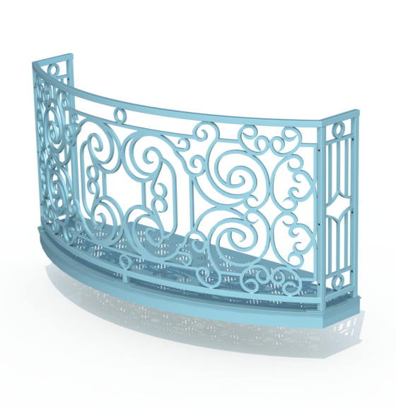 Balcony Render 3 - Curved Wrought Iron Look with Grate Deck - Light Blue, Noon Shadow
