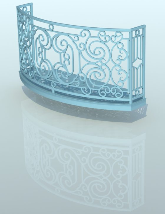 Balcony Render 4 - Curved Wrought Iron Look with Grate Deck - Light Blue, Shadow, Reflection