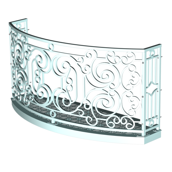 Balcony Render 5 - Curved Wrought Iron Look with Grate Deck - Light Blue, White Background, Hardware