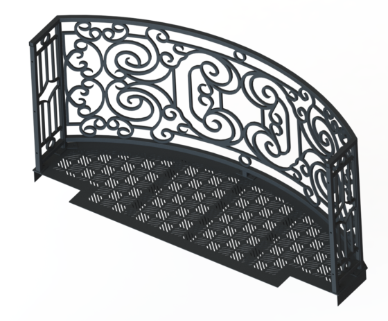 Balcony Render 8 - Curved Wrought Iron Look with Grate Deck - Gray, View From Behind