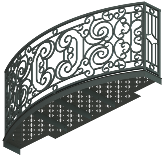 Balcony Render 9 - Curved Wrought Iron Look with Grate Deck - Gray, View From Below - 118in Vsn