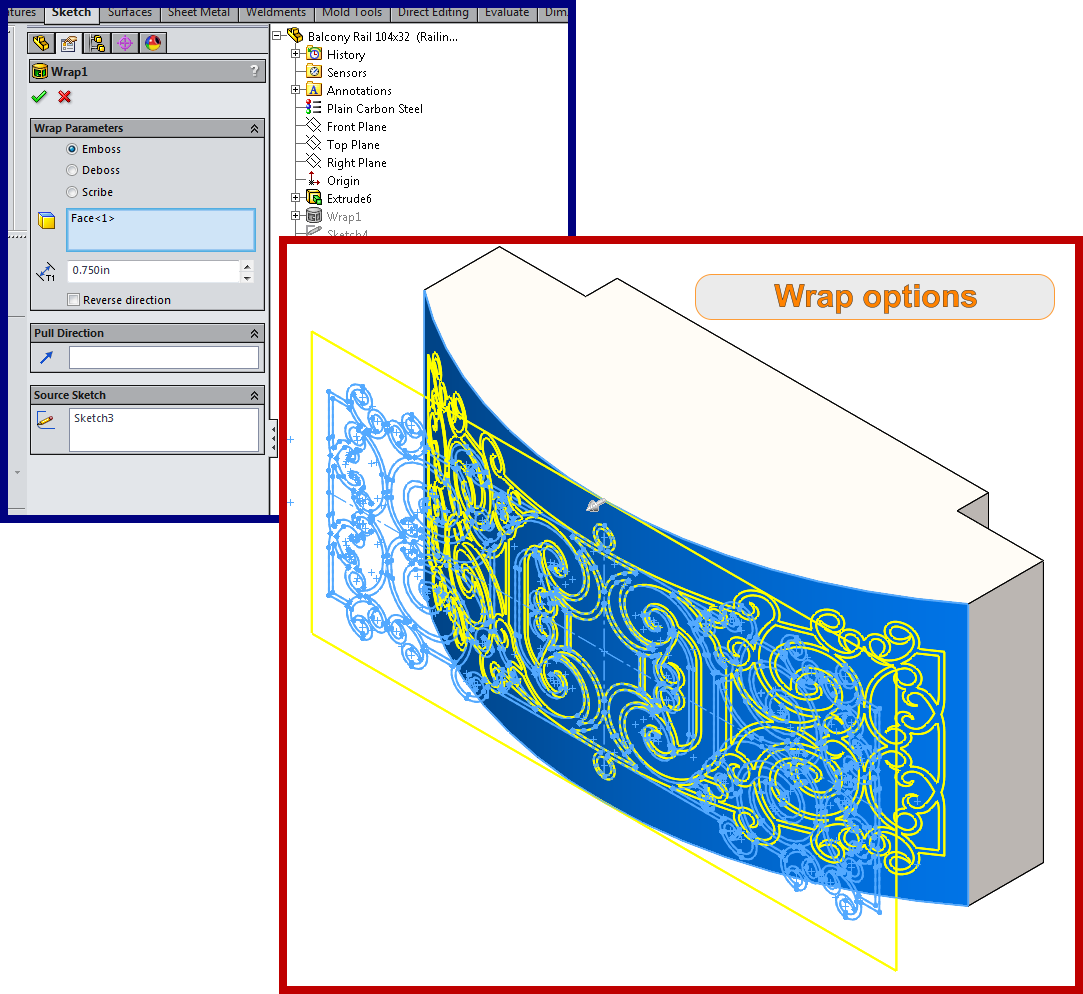 Balcony Curved Wrapped Geometry Solidworks How To 3a