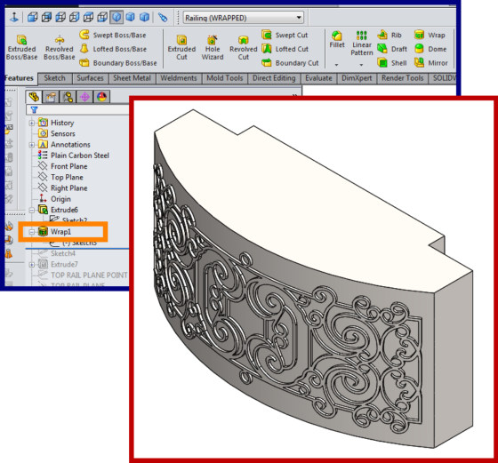 Balcony - curved wrapped geometry - SolidWorks - How To 3b - wrapping faux wrought iron rolled sheet steel insert