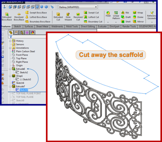 Balcony - curved wrapped geometry - SolidWorks - How To 4 - cut away the scaffold