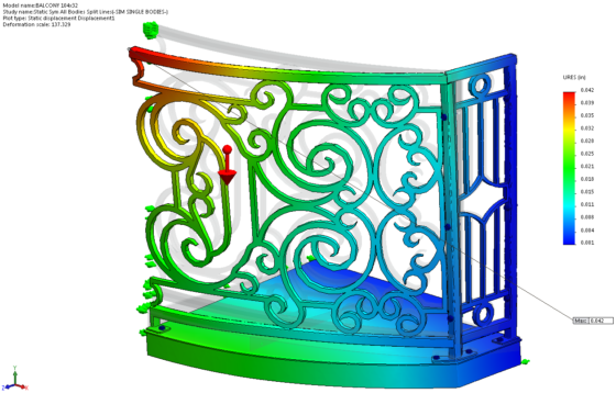 Curved Balcony SolidWorks Simulation NO PENETRATION Displacement Plot 1
