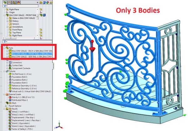 Curved Balcony SolidWorks Simulation Parts Models Setup