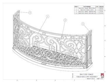 Curved balcony fabrication layout print 1