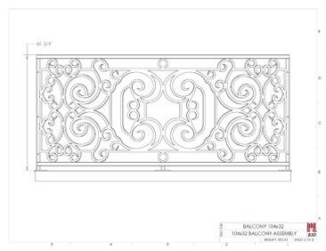 Curved balcony fabrication layout print 2