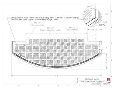 Curved balcony fabrication layout print 3