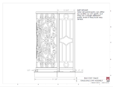 Curved balcony fabrication layout print 4