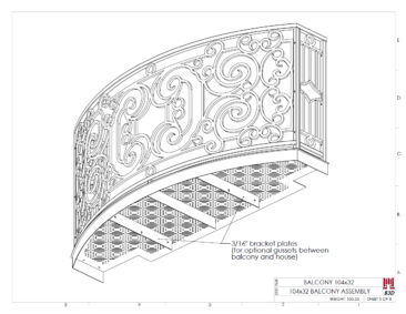 Curved balcony fabrication layout print 5