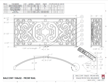 Curved balcony fabrication layout print 6