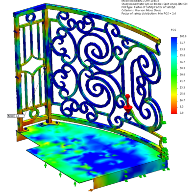 SolidWorks Simulation - Factor Of Safety on balcony