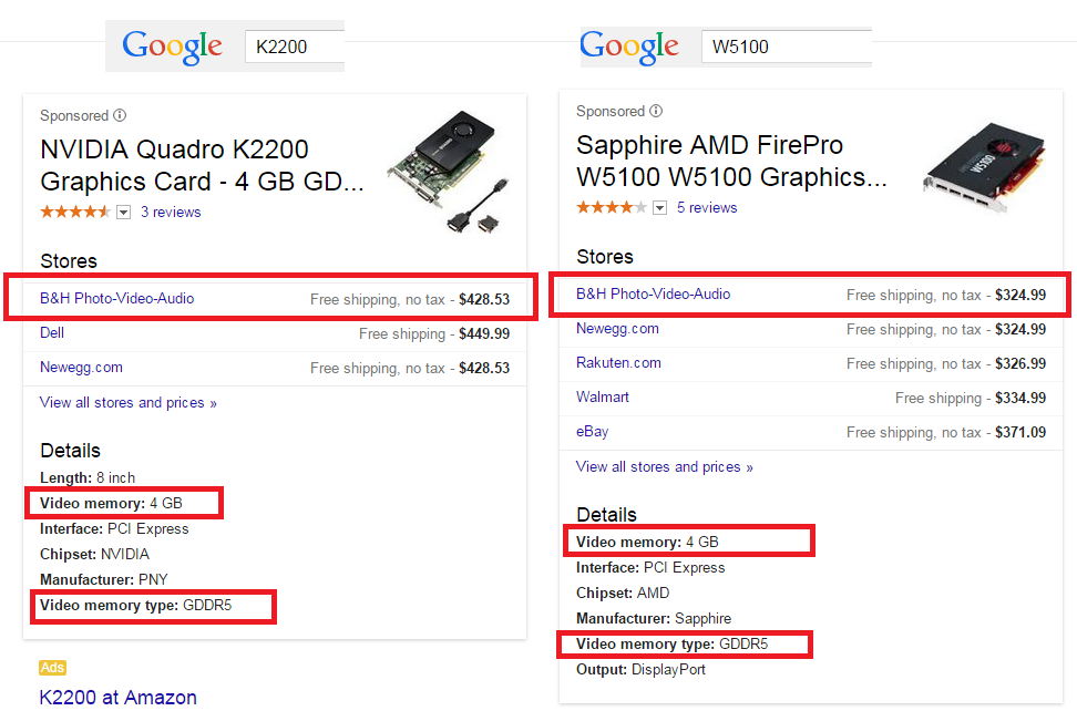 Comparing value pricing of Nvidia Quadro K2200 to AMD