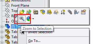 SolidWorks Zoom To Selection button in flyout menu