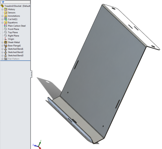 Treadmill Laptop Bracket design - formed sheet metal 1