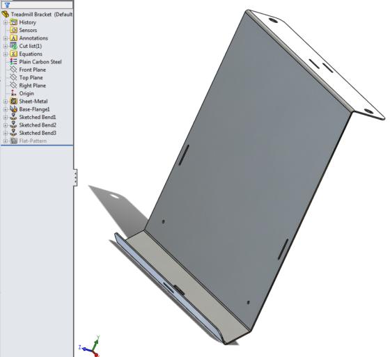 Treadmill Laptop Bracket design - formed sheet metal 1