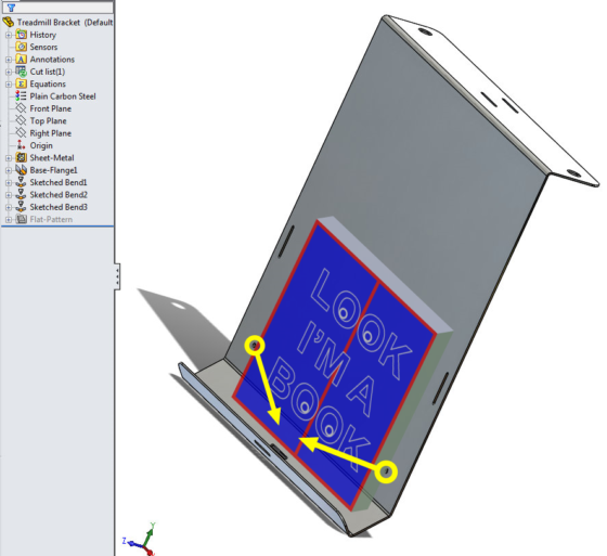 Treadmill Laptop Bracket design - formed sheet metal 1 book hold-downs