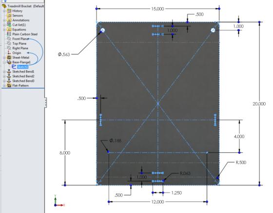 Treadmill Laptop Bracket design - formed sheet metal 1 flat pattern