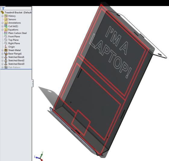 Treadmill Laptop Bracket design - formed sheet metal 1 laptop fitup