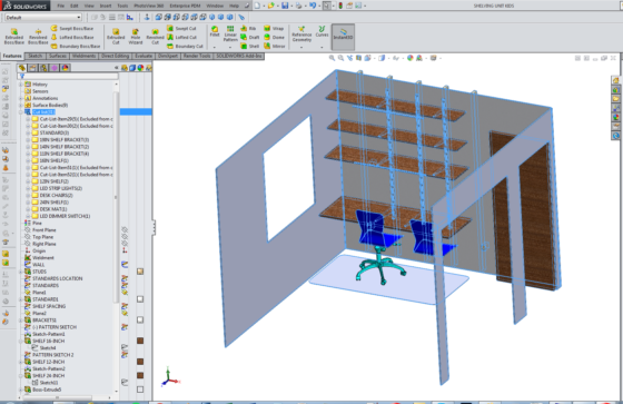 "Screenshot: Kids shelf desk modeled in solidworks ""weldment"" file. Notice the Cut List that will double as a shopping list when Cut List Table is added to drawing."