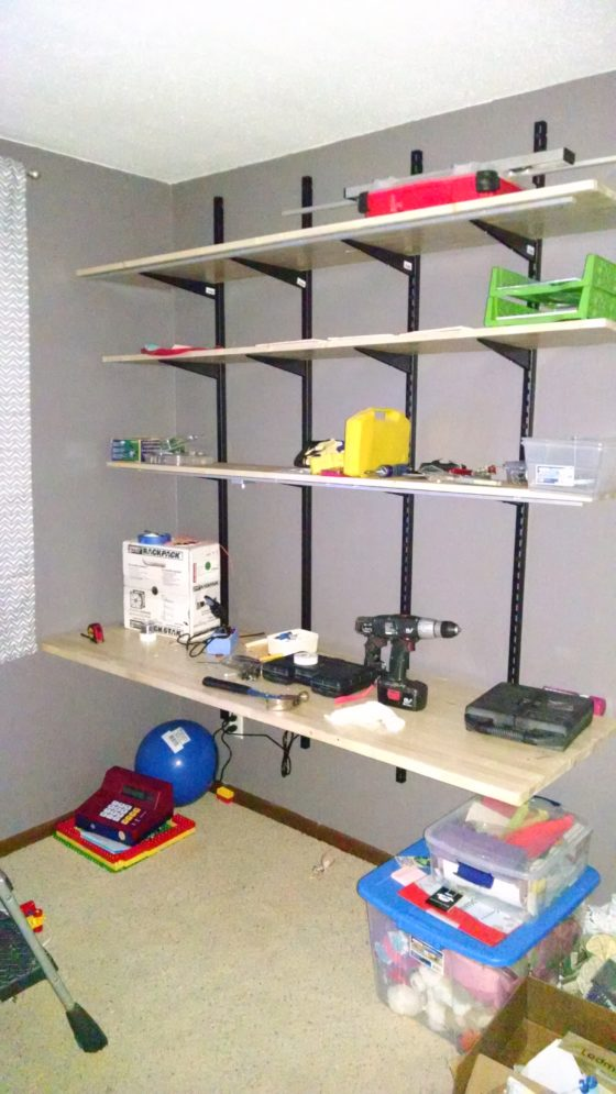 Pic of kids shelf bracket desk with LED strips in aluminum extrusions - lights off but flash makes look fake