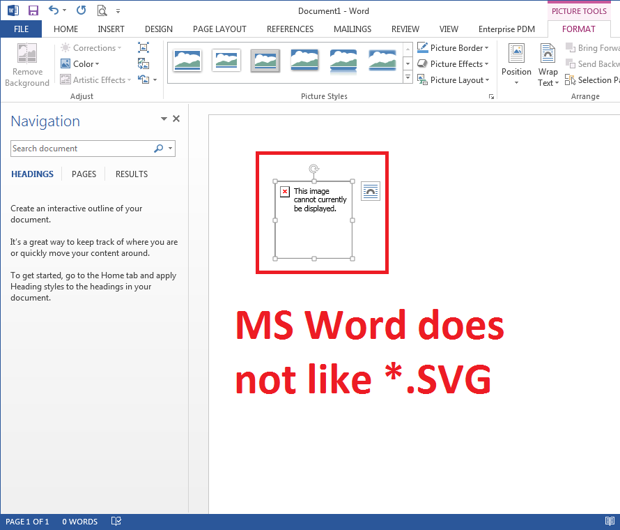What happens when you Insert and Link an SVG file into MS Word