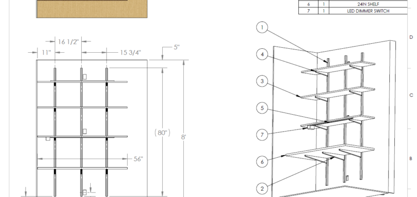 CAD - shelf bracket workstation dimensions and shopping list BOM