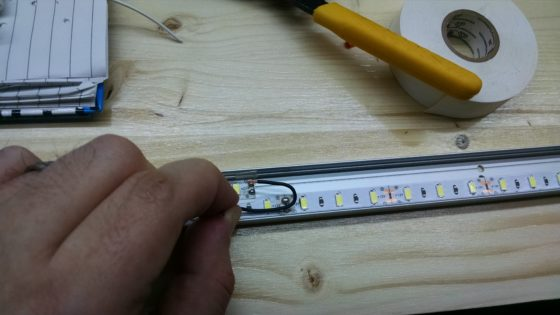 LED strip lighting - wire soldered in channel - fitting for length