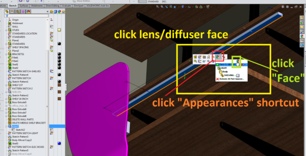 SolidWorks Rendering - LED strip lumens - undercabinet lighting in extrusion with diffuser 1