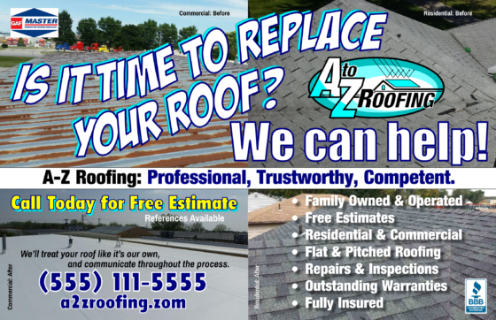 ROOFING FLYER POSTCARD MAILER 20160725 A