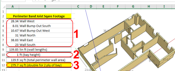 BAND JOIST FOAM BOARD INSULATION CALCULATOR - MEASURING FOR SQ FOOTAGE