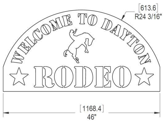 DAYTON RODEO SIGN 46 X 24IN VSN