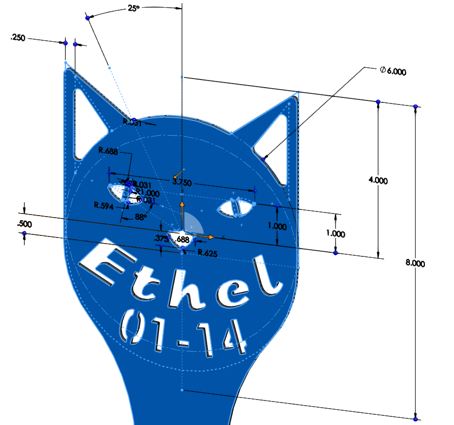 Ethel Tombstone - Pet Grave Marker - DIMENSIONED