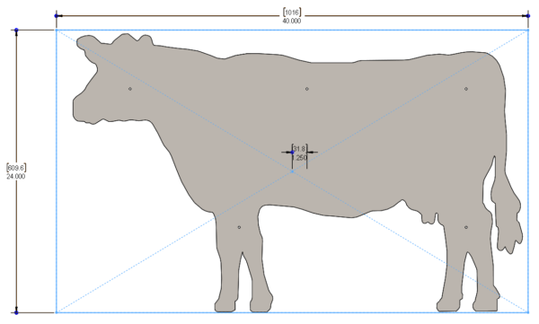 FARM SIGNS - COW 40 X 24in - STEEL