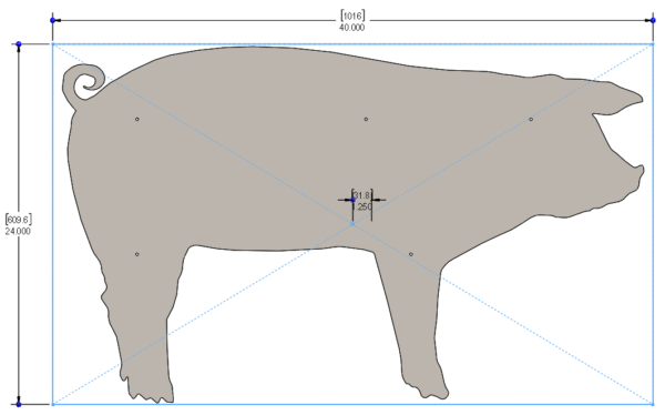 FARM SIGNS - PIG 40 X 24in - STEEL