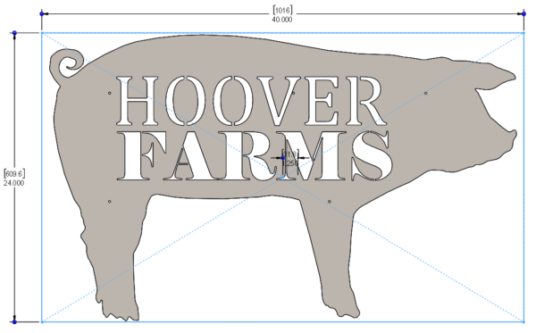 FARM SIGNS - PIG 40 X 24in - STEEL - HOG LOGO 1