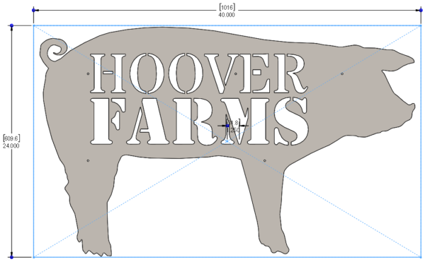 FARM SIGNS - PIG 40 X 24in - STEEL - HOG LOGO 2