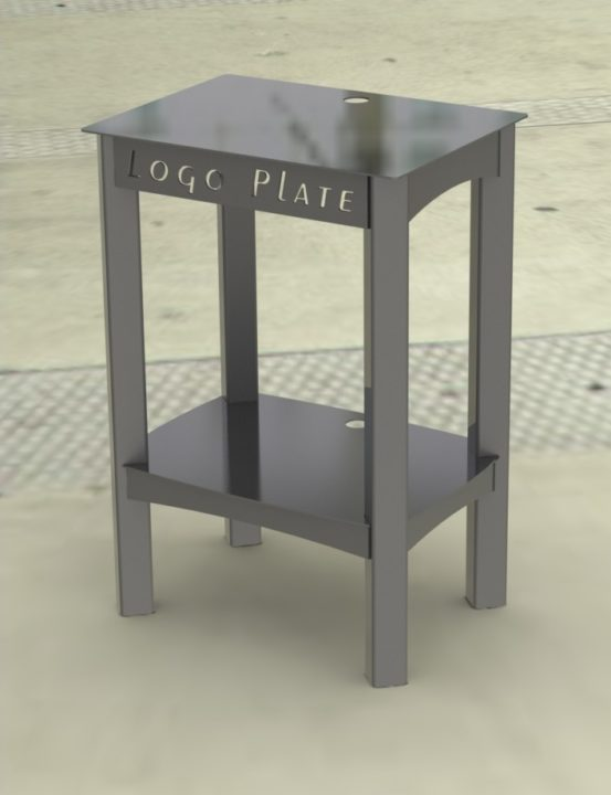 POPCORN MAKER STAND RENDER 1A -- DARK SILVER PAINT
