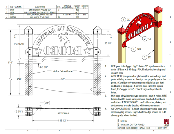 PRINT-DR100 DAYTON RODEO SIGN ASY INSTALLATION INSTRUCTION, BOM
