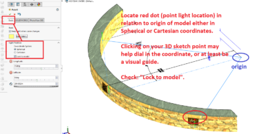 SOLIDWORKS PHOTOVIEW PV360 - LOCATE POINT LIGHT VIA COORDINATES FROM ORIGIN