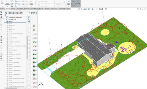 Landscaping Plan in CAD - Heights and profiles of plants trees shrubs 1
